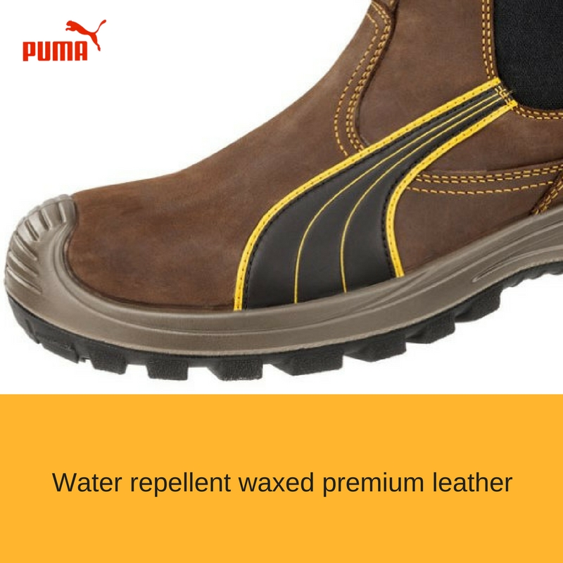 a3abf83d6d3 The Puma Safety Tanami Brown 630267 from the Scuff cap range is a metal  free Elastic sided boot. Water resistant waxed leather upper