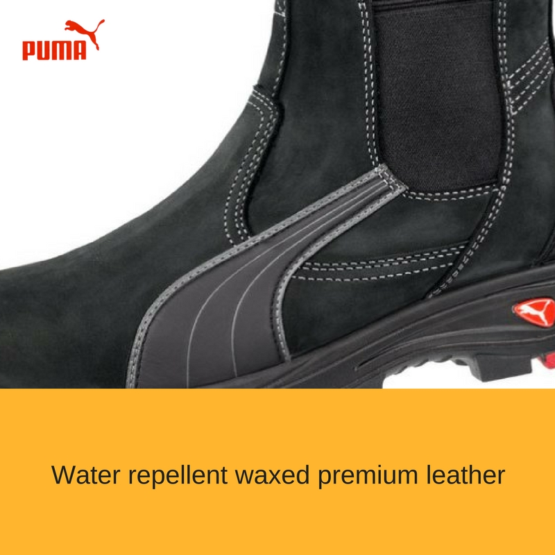7d59bc19f48 The Puma Safety Tanami Black 630347 from the Scuff cap range is a metal  free Elastic sided safety boot. Water resistant waxed leather upper